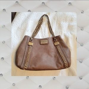 Brown leather Andrew Marc New York hobo handbag